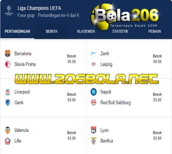 Jadwal Liga Champions UEFA Malam Ini