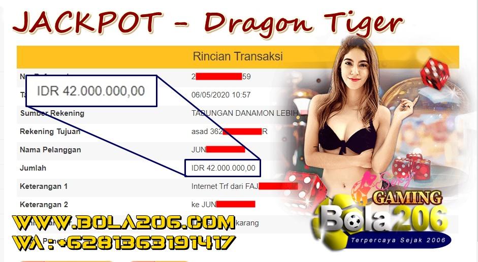 Bukti Pemenang Sexy Gaming Dragon Tiger WD 42 Juta