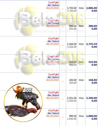 Bukti Pemenang Sabung Ayam SV388 WD 10 JT 25/06/2020